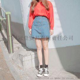 太阳后裔宋慧乔同款A字裙 个性单排扣 休闲纯色牛仔短裙半身裙