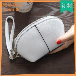 新款手拿包女 韩版复古简约纯色女式拉链小包女士长款钱包
