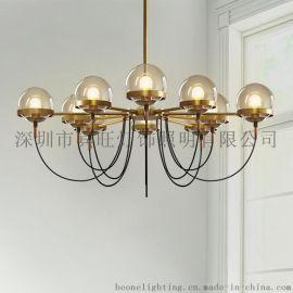 北欧设计工业风铁艺吊灯 简约客厅餐厅卧室咖啡厅古铜色多头吊灯