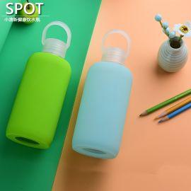 卡通硅胶玻璃杯创意隔热带盖学生运动水杯子便携随手玻璃水瓶水壶