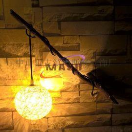 瑪斯歐自主研發樹脂樹枝壁燈MS-W9001帶藤藝球燈罩 別墅個性藝術裝修 自然鄉村風格
