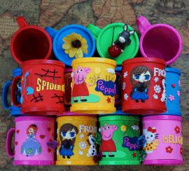 儿童漱口马克龙卡通塑料杯