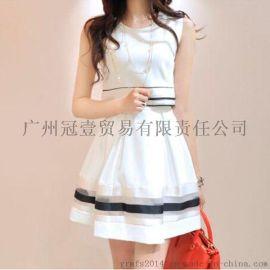 2016韩版新款 简约条纹印花 时尚学院风假两件连衣裙