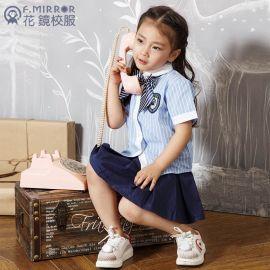 幼儿园园服厂家供夏季学生礼服套装定做女