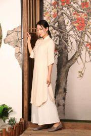 木棉道服饰批发 原创唐装连衣裙  长款上衣 立领盘扣女装16117