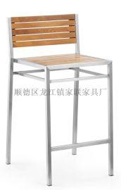 【家联家具】OP-731高档不锈钢拉丝户外休闲野餐塑木柚木餐椅