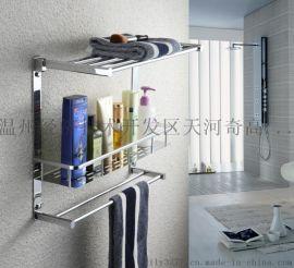 厂家直销 最新款全铜三层可折叠带置物篮浴巾架 浴室毛巾挂件