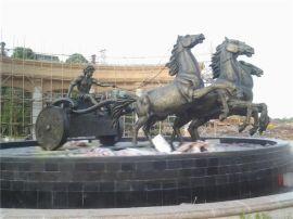 欧式人物马车 玻璃钢欧式人物仿铜马车景观雕塑定做厂家