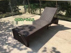 舒纳和定制纯手工编藤折叠沙滩椅藤编泳池躺椅
