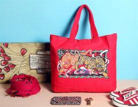 高档刺绣款棉布袋 不同花色 帆布背包 出口包装袋