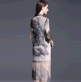 樱樱 17夏装真丝丝麻连衣裙 品牌折扣女装尾货库存清仓批发走份