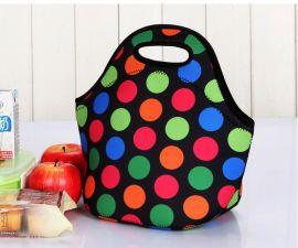 潜水料午餐包带饭包防水保温饭盒袋便当包手提妈咪包午餐袋野餐包