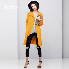 2016秋冬新款纯色西装领英伦OL简约系带双面羊毛呢大衣外套女包邮