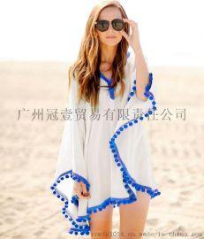 欧美新款简约纯色 休闲宽松沙滩防晒衫斗篷上衣