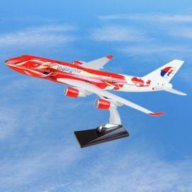 波音747马来西亚大红花塑料飞机模型 工艺礼品 仿真 纪念品