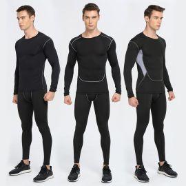 春秋薄款健身運動裝男體育訓練彈力緊身衣褲長袖打底透氣速幹服
