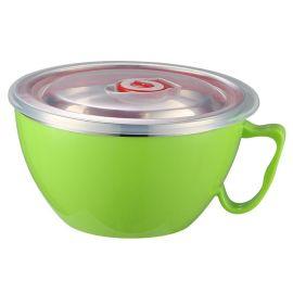 躍發 彩色韓式泡面碗 防摔防燙不鏽鋼保鮮碗 雙層隔熱學生泡面杯