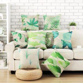 客厅沙发棉麻花卉抱枕靠垫 办公室腰靠床头腰枕汽车抱枕支持定制