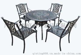 高档铸铝休闲桌椅 户外铸铝桌椅 步行街铸铝桌椅图片