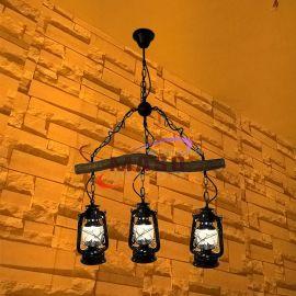 瑪斯歐自主研發粗樹枝三頭煤油燈復古美式鄉村餐吊燈酒吧復古裝修吊燈MS-P9005