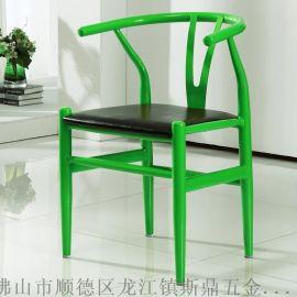 斯鼎美式铁艺金属餐椅复古酒店餐厅休闲靠背椅饭店餐椅咖啡餐厅吧台椅
