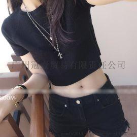 日韩女装街头风新款 个性磨破流苏边 韩版百搭中腰牛仔热裤短裤