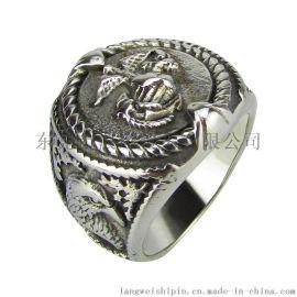 欧美不锈钢指环 美国大兵复古钛钢老鹰 铸造戒指 男