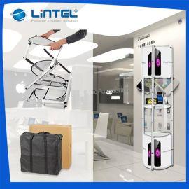 便携式带射灯半圆折叠展架,亚克力展示架,折叠展柱,商场展示柜