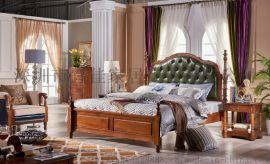美式牀頭層黃牛皮全青皮實木牀歐式牀1.8米雙人簡約臥室家具古典真皮牀MSC6201