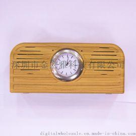 2017新款无线迷你蓝牙音箱酒店专用木质带闹钟通话插卡收音USB