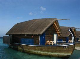 楚风木船出售马尔代夫船木质房船水上宾馆