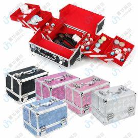 鋁合金化妝包外貿女士珠寶紋鏽美容甲大化妝箱JH-122鋁箱