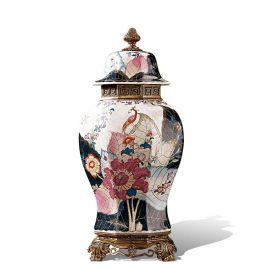 卡詩蘭諾 奢華家居客廳裝飾蓋壇歐式陶瓷鑲銅工藝品創意收納儲物罐擺件