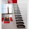 不锈钢龙骨 实木踏板商场直线式楼梯