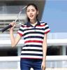 2017夏装女式新款 翻领短袖t恤高尔夫服装 女装纯棉条纹运动T恤