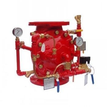 zsfm系列隔膜雨淋阀由主阀,水力警铃,压力开关,手动球阀,电磁阀图片