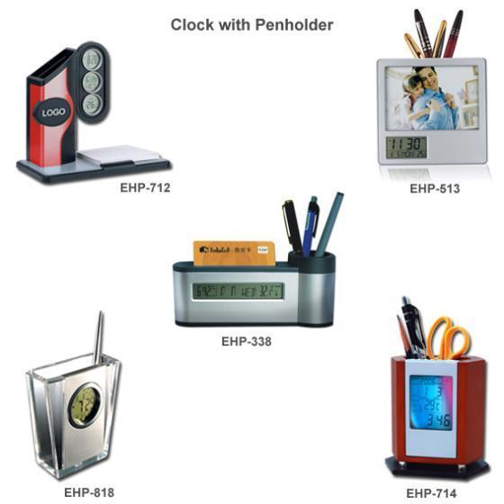 销售多功能万年历电子钟笔筒图片