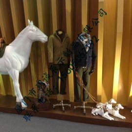 厦门玥诚橱窗展示道具玻璃钢马雕塑 动物玻璃钢雕塑定制厂家
