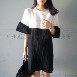 日韩 时尚撞色 甜美简约百搭娃娃裙宽松喇叭袖连衣裙
