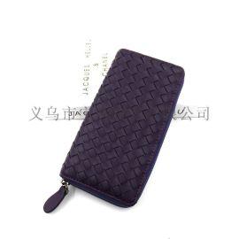 廠家定制女士錢夾PU編織長款錢包手拿包批發外貿零錢包卡包直銷