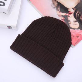 創意款光身翻邊晴綸圓頂針織帽子 外貿雙層厚實滑雪帽嘻哈新品