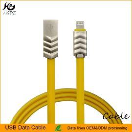 2A電流新款鋅合金黃色面條扁平手機充電數據線