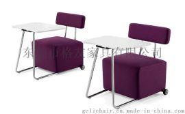 写字板沙发椅 酒店单人布艺沙发椅 带大手写板沙发
