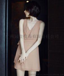 甜美日韩公主风夏季纯色短裙 系腰带时尚交叉V领雪纺连衣裙