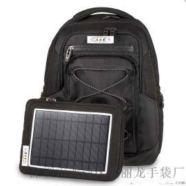 黑色商務太陽能電腦雙肩背包