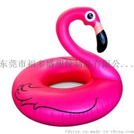 厂家直销各类环保PVC充气动物游泳圈 充气火烈鸟游泳圈 夏日休闲水上玩具
