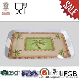 [宏冠工廠直銷]密胺美耐皿仿瓷食具|自選快餐託盤|棕櫚樹雙耳託盤