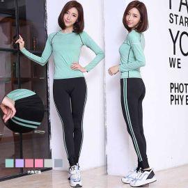 韓國2017新款女彈力圓領長袖氣質淑運動戶外秋冬健身瑜伽服套裝