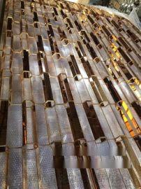 佛山嵘洪RH-2017-S18六角形竹节管型不锈钢造型玫瑰金屏风