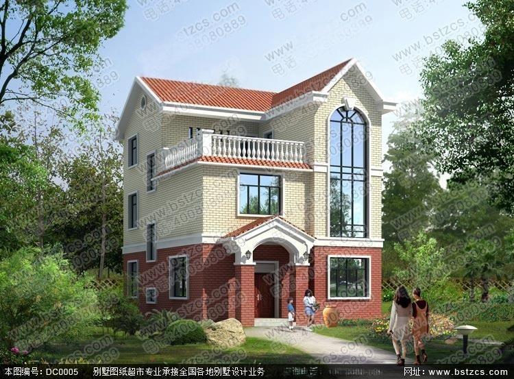 設計 100平方米造價20萬三層磚混結構農村自建房全套圖紙_鼎川別墅圖片